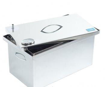 Коптильня горячего копчения из нержавеющей стали (520x300x280) с термометром