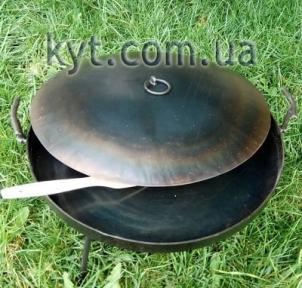 Сковорода из диска бороны со съемными ручками с крышкой