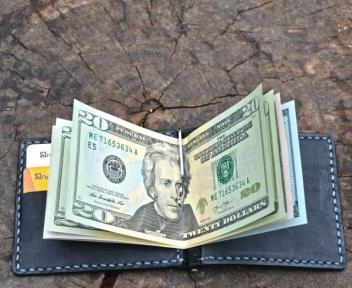 Черный зажим для денег с отделением для кредиток Mr.Falke