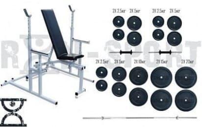 Лава для жиму Rn-Sport 3090 + Стійки для присідань 40S + Штанга 115 кг + EZ-гриф + гантелі по 16 кг