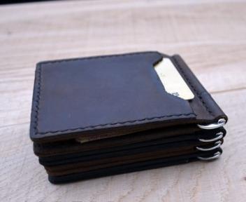 Черный зажим для денег с внешними карманами Mr.Falke