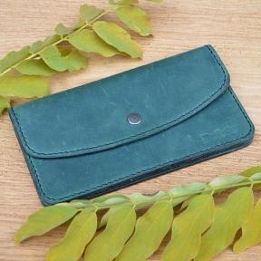 Женский зеленый клатч из натуральной кожи Mr.Falke