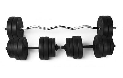 Штанга Rn-Sport з пластиковим покриттям W-подібна 25 кг + Дві гантелі по 16 кг